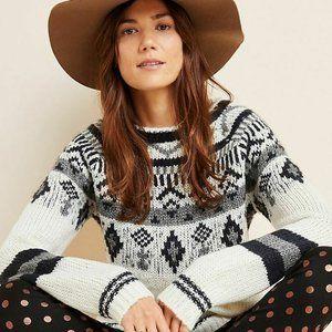 Anthropologie Ivory Fair Isle Stockholm Sweater